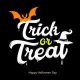 Vector il giorno felice bianco di Halloween di progettazione di messaggio di scherzetto o dolcetto Fotografie Stock