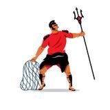Vector il gladiatore con il tridente e l'illustrazione netta del fumetto Fotografia Stock