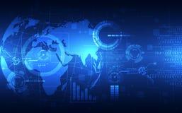 Vector il globo blu sui precedenti di tecnologia digitale, illustrazione astratta Immagine Stock Libera da Diritti