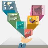 Vector il grafico nella mano, con il grafico commerciale Immagini Stock