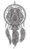 Vector il gufo decorato dettagliato disegnato a mano con il collettore di sogno illustrazione vettoriale