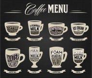 Vector il infographics del menu del caffè sulla lavagna, metta gli elementi per creare il vostro proprio infographic Fotografia Stock