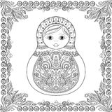 Vector il libro da colorare per l'adulto ed i bambini - bambola russa di matrioshka Fotografia Stock Libera da Diritti