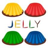 Vector il logo dell'illustrazione per la varia gelatina del dessert dell'insieme Immagini Stock Libere da Diritti