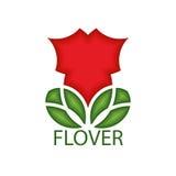 Vector il logo o l'emblema di un fiore rosso con le foglie nelle proporzioni geometriche, per l'ornamento della decorazione illustrazione vettoriale
