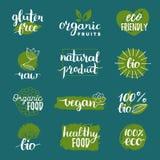 Vector il logos di eco, o i segni organici e bio- Il vegano, alimento sano badges, etichette messe per il caffè, ristoranti, prod Immagini Stock