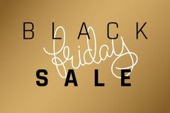 Vector il manifesto dell'iscrizione di vendita di Black Friday dell'illustrazione su un fondo dell'oro Fotografie Stock