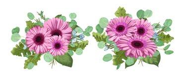 Vector il mazzo floreale, metta la composizione per l'invito di nozze, g Fotografia Stock Libera da Diritti