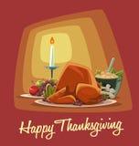 Vector il menu della cena di ringraziamento del fumetto con i frutti arrostiti del tacchino e la purè di patate royalty illustrazione gratis