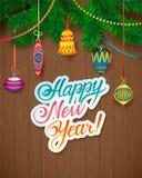 Vector il messaggio e gli oggetti del buon anno su fondo di legno Fotografie Stock