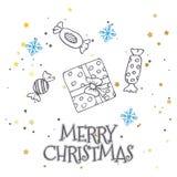 Vector il modello con gli abeti disegnati a mano, il regalo, gli archi, giocattoli di natale Fondo stagionale di inverno sul Libr illustrazione di stock
