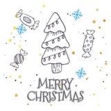 Vector il modello con gli abeti disegnati a mano, il regalo, gli archi, giocattoli di natale Fondo stagionale di inverno sul Libr royalty illustrazione gratis