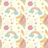 Vector il modello con gli unicorni, gli arcobaleni, i fiori ecc royalty illustrazione gratis