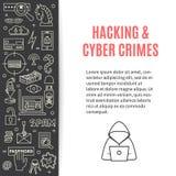 Vector il modello con l'incisione e le icone cyber di crimini Immagine Stock Libera da Diritti