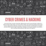 Vector il modello con l'incisione e le icone cyber di crimini Immagini Stock Libere da Diritti