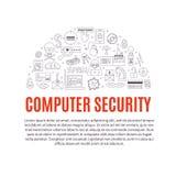 Vector il modello con l'incisione e le icone cyber di crimini Immagine Stock