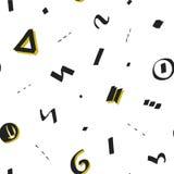 Vector il modello con le forme geometriche nere e gialle fatte nello stile della spazzola Stile di Memphis dei pantaloni a vita b Immagini Stock