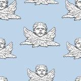 Vector il modello dalle teste e dalle ali degli angeli illustrazione vettoriale
