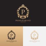 Vector il modello del logo della marca premio con l'ornamento floreale Fotografia Stock