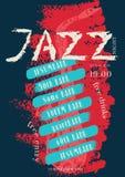Vector il modello del manifesto di musica di jazz, della roccia o dei blu Immagine Stock