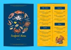 Vector il modello del menu per il ristorante, il negozio o il caffè con gli elementi disegnati a mano dei frutti di mare illustrazione vettoriale