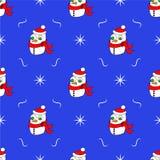 Vector il modello del ` s del nuovo anno con un pupazzo di neve ed i fiocchi di neve Fotografie Stock