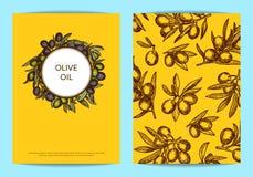 Vector il modello dell'aletta di filatoio o della carta con i rami di ulivo disegnati a mano Fotografia Stock Libera da Diritti