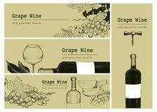 Vector il modello della carta, fondo dell'insegna o dell'etichetta con le illustrazioni disegnate a mano uva, bottlle del vino e  Fotografie Stock Libere da Diritti