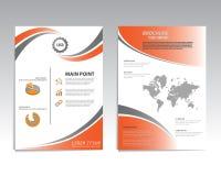 Vector il modello della disposizione di progettazione dell'aletta di filatoio dell'opuscolo, la dimensione A4 Fotografie Stock