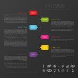 Vector il modello di cronologia con le icone ed il fondo nero Immagini Stock Libere da Diritti