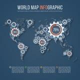 Vector il modello di infographics di affari della mappa di mondo con i segni dell'ingranaggio Fotografie Stock