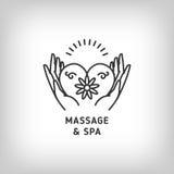 Vector il modello di logo di terapia della stazione termale e di massaggio, la linea sottile simboli Fotografia Stock