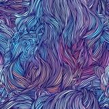 Vector il modello disegnato a mano astratto dei capelli di colore con le onde ed i clo Immagini Stock