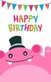 Vector il modello felice del biglietto di auguri per il compleanno con il mostro e la bandiera rosa svegli royalty illustrazione gratis