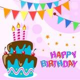 Vector il modello felice del biglietto di auguri per il compleanno con la torta di compleanno del fumetto di divertimento royalty illustrazione gratis