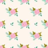 Vector il modello floreale con le rose e le foglie rosa Immagini Stock