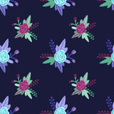 Vector il modello floreale con le rose e le foglie viola e blu Immagini Stock Libere da Diritti