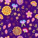 Vector il modello floreale dell'estate nello stile del graphyc di scarabocchio Fotografie Stock