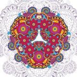 Vector il modello floreale nello stile di scarabocchio con i fiori Immagini Stock Libere da Diritti