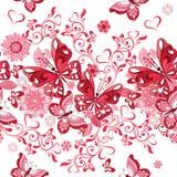 Vector il modello floreale senza cuciture dei cuori e delle farfalle rosa d Fotografia Stock