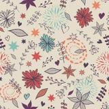 Vector il modello floreale senza cuciture sveglio con i fiori, le foglie, cuori Illustrazione di Stock