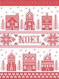 Vector il modello Noel del villaggio di Natale ispirato entro l'inverno festivo della cultura nordica in punto trasversale con i  royalty illustrazione gratis