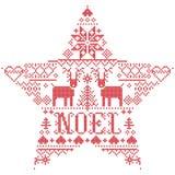 Vector il modello Noel ispirato da festivo, cultura nordica di Natale dell'inverno in punto trasversale con i cuori, la renna, or royalty illustrazione gratis