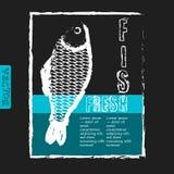 Vector il modello per il menu del pesce con retro effetto Immagini Stock
