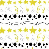 Vector il modello senza cuciture astratto con le stelle, i coriandoli, le linee, stile comico disegnato dei punti a disposizione royalty illustrazione gratis