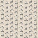 Vector il modello senza cuciture con alimenti a rapida preparazione asiatici su fondo beige Contorni di Gray Wok illustrazione di stock