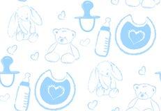 Vector il modello senza cuciture con gli accessori disegnati a mano dell'illustrazione per i bambini e neonato royalty illustrazione gratis