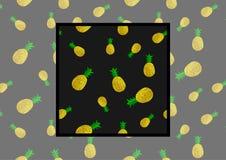 Vector il modello senza cuciture con gli ananas su fondo nero con l'esempio come utilizzare nella progettazione ed in decorazione Fotografia Stock