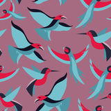 Vector il modello senza cuciture con gli uccelli nello stile piano Fotografie Stock Libere da Diritti