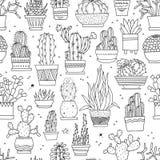 Vector il modello senza cuciture con i cactus ed i succulenti disegnati a mano in vasi fotografie stock